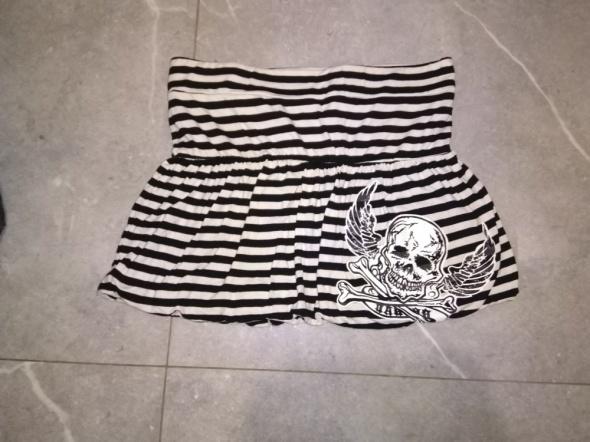 Czarno biała spódnica w paski z czaszką rock metal punk emo got...