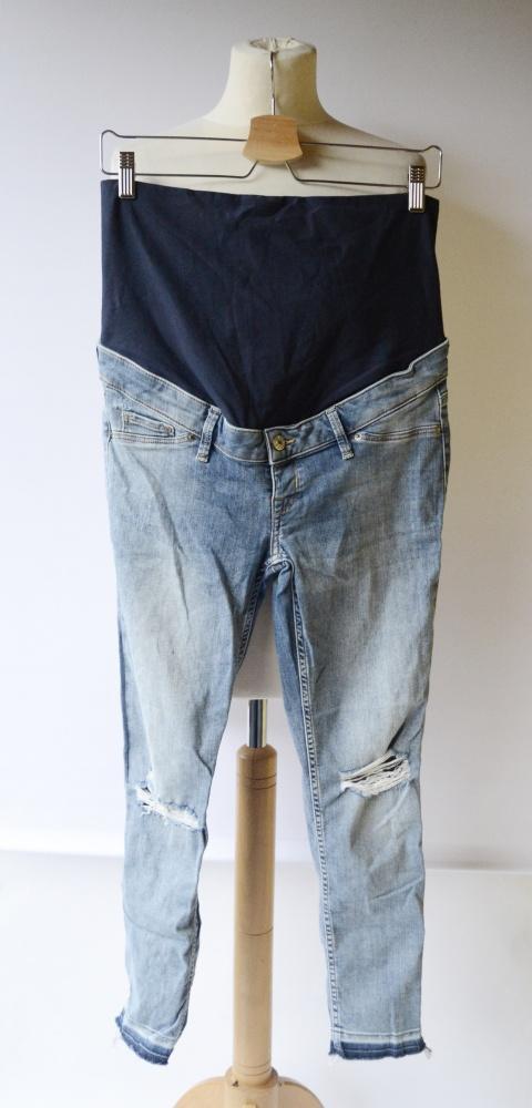 Spodnie H&M Mama Dziury Dzinsy Skinny L 40 Postrzępione Nogawki