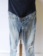 Spodnie H&M Mama Dziury Dzinsy Skinny L 40 Postrzępione Nogawki...