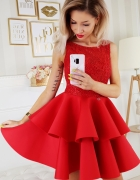 Piękna piankowa sukienka falbany XS SM L kolory...