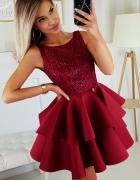 Piękna piankowa sukienka falbany XS SM L kolory bordowa...