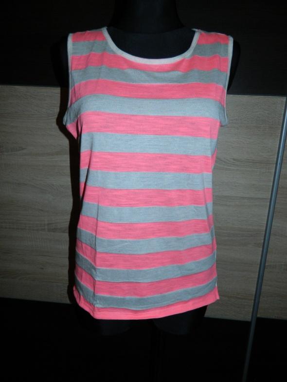 Bluzki TROLL luźna bluzka bez rękawów NEON paski roz 36