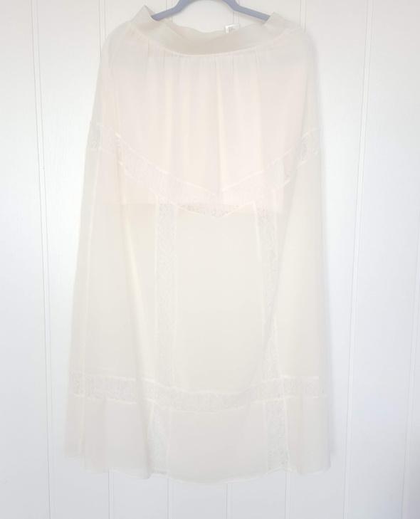 Nowa spódnica maxi H&M 40 L długa koronkowa kremowa ecru biała ...