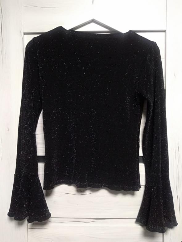 Czarna brokatowa bluzka długi szeroki rękaw...