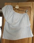 Bluzka na jedno ramię 38 m paski falbanka biała niebieska lekka...