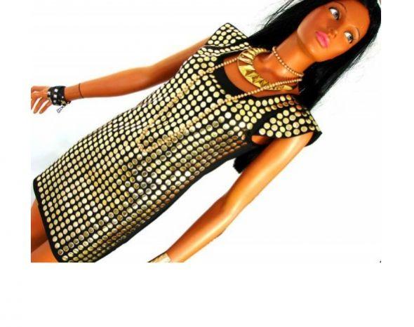 EXTRA WYSTRZAŁOWA sukienka złote BLASZKI 36 S