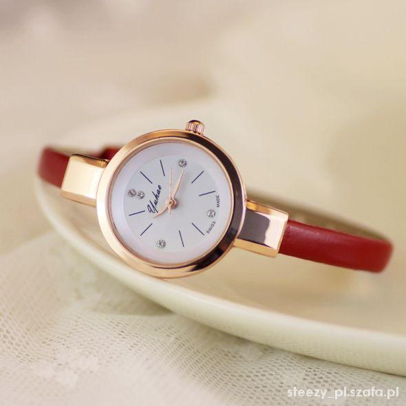 złoty zegarek kryształki elegancki na pasku