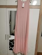 Długa sukienka pudrowy róż
