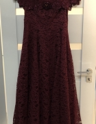 Suknia Koronkowa Na Ramiona Bordowa 14 M L...