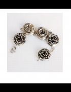 Unikatowa srebrna bransoletka róże...