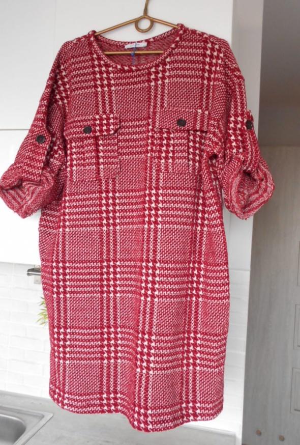 Zara nowa sukienka czerwona pepitka dzianinowa oversize...