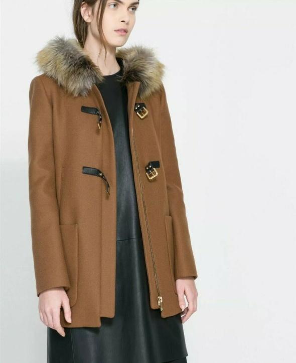 Piękny płaszcz zimowo jesienny brązowy karmelowy ZARA M blog ov...