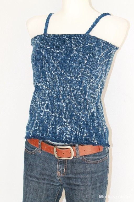 gumkowany jeansowy top