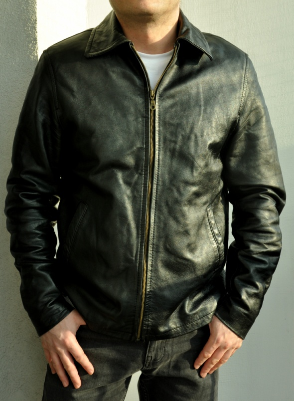 męska czarna kurtka ze skóry