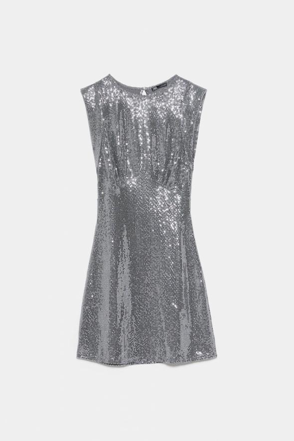 ZARA sukienka mini srebrna błyszcząca karnawał nowa S 36...