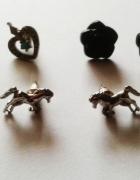 NOWY zestaw kolczyków H&M róże konie serca turkus...
