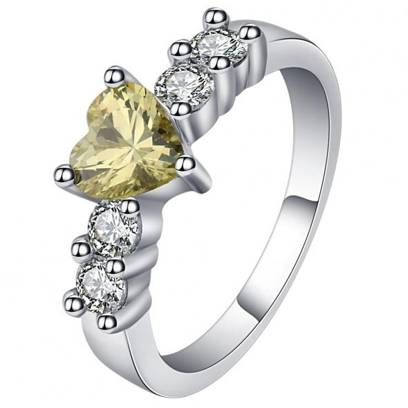 Nowy pierścionek srebrny kolor żółte białe cyrkonie serce serduszko