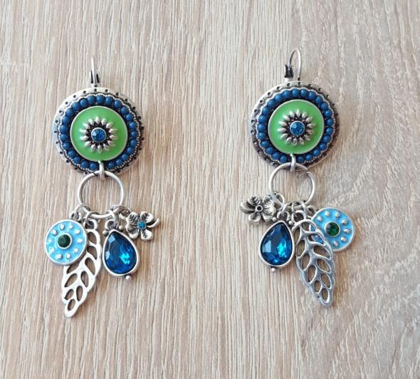 Nowe kolczyki wiszące długie niebieskie zielone srebrne boho hippie etno celebrytki