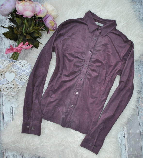 Marks & Spencer Elegancka Koszula Bluzka Fioletowa Zamszowa Guziki Marszczony Dekolt Basic Casual Retro