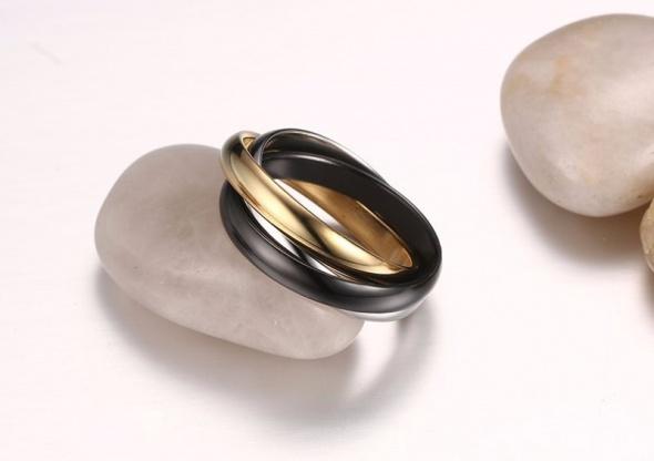 Nowy potrójny pierścionek obrączka złoty srebrny czarny kolor