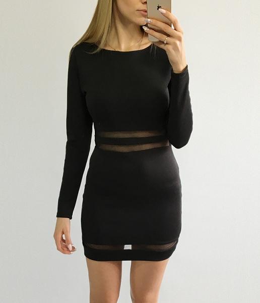 sukienka dopasowana mała czarna XS 34 mini siateczka