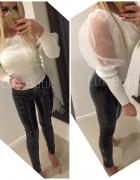 Piękna bluzka sweterek ecru bufki tiul...