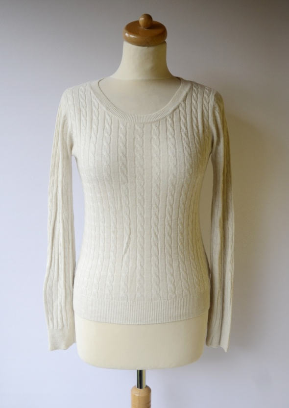Sweter H&M Basic XS 34 Beżowy Warkocze Beż...