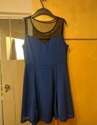 sukienka z siateczką kobaltowa granatowa...