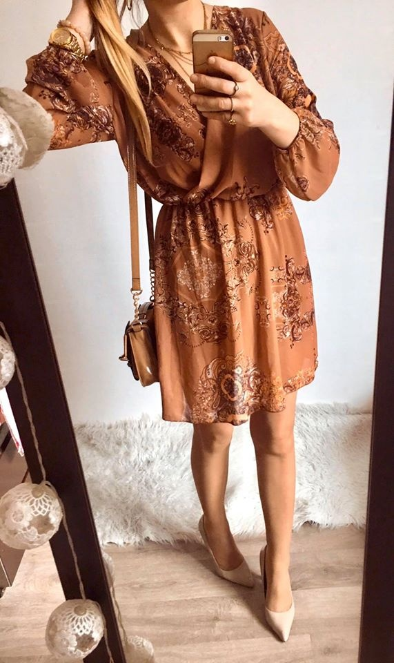 Sukienka Damska w ornamenty elegancka M