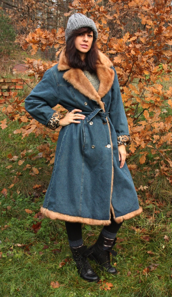 Jeansowy płaszcz vintage panterka