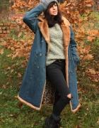 Jeansowy płaszcz vintage panterka...