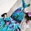 Sukienka z Koła Szyfonowa Satynowa Kwiaty Wiązana Na Szyi Koktajlowa Balowa Wesele Boho Retro Pin Up
