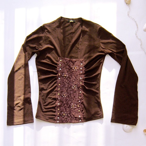 Nowa brązowa bluzka z koronką