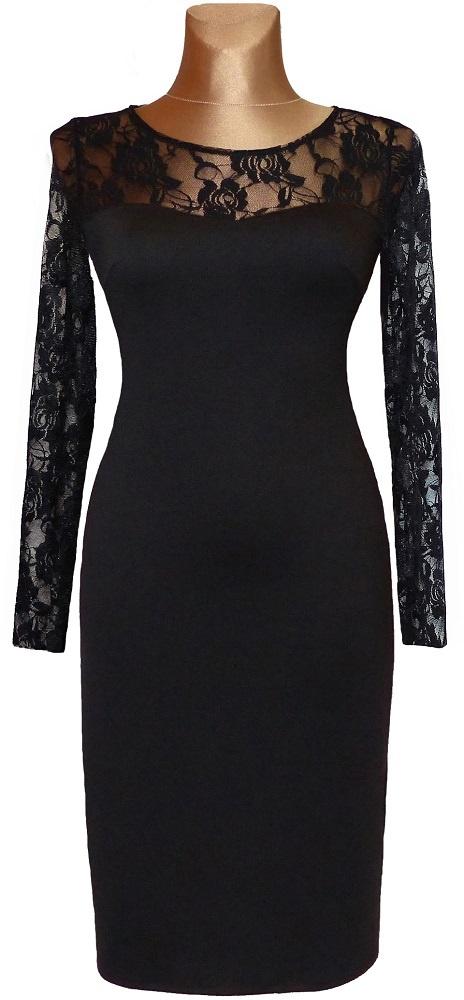 Czarna ołówkowa sukienka z koronką 42
