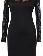 Czarna ołówkowa sukienka z koronką 42...