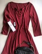 Bordowa prążkowana sukienka sznurowany dekolt S M...