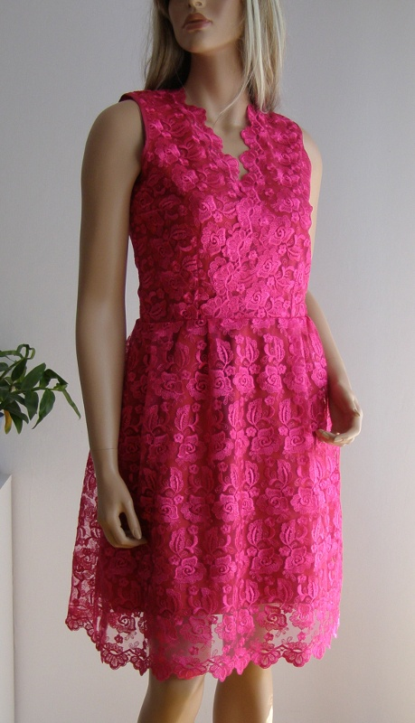 Sukienka różowa gipiura koronka 38 M wesele kwiaty