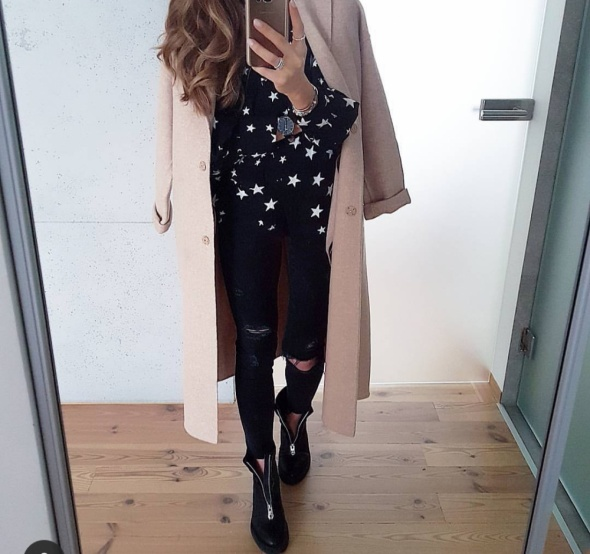 Czarne botki na platformie H&M zamki rozmiar 35