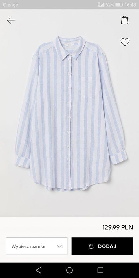 H&M Długa koszula z domieszką lnu...