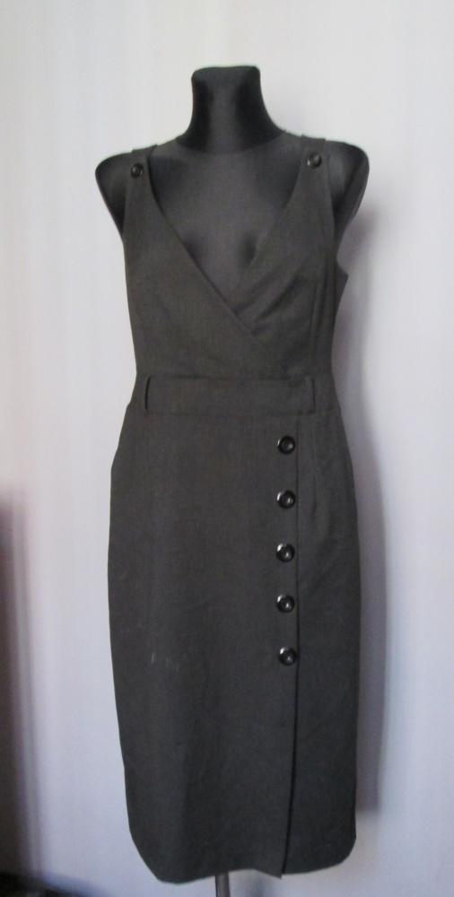 Suknie i sukienki Ciemno grafitowa sukienka z kieszeniami i guzikami
