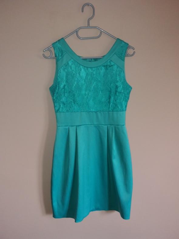 Turkusowa elegancka sukienka r 36