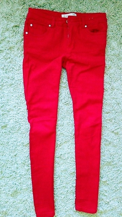 czerwone rurki spodnie dżinsy tregginsy 12 L 40