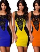 Sukienka wyszczuplająca z gipiurą rozmiar M LATO...