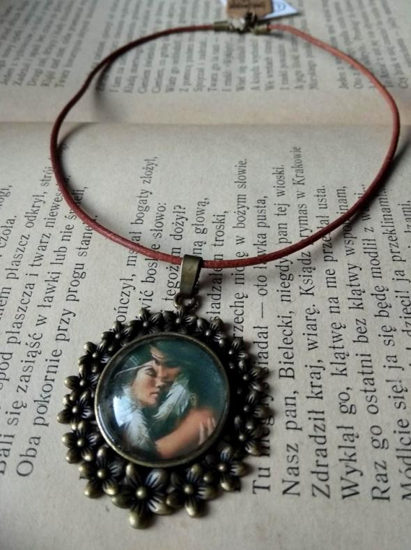 Handmade wisior naszyjnik medalion boho etno indiański rzemień