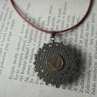 wisior naszyjnik medalion boho etno indiański rzemień