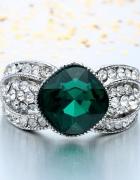 Nowy duży pierścionek srebrny kolor zielona cyrkonia cyrkonie...