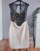 lipsy london sukienka beżowa czarna koronka 38 40 hit