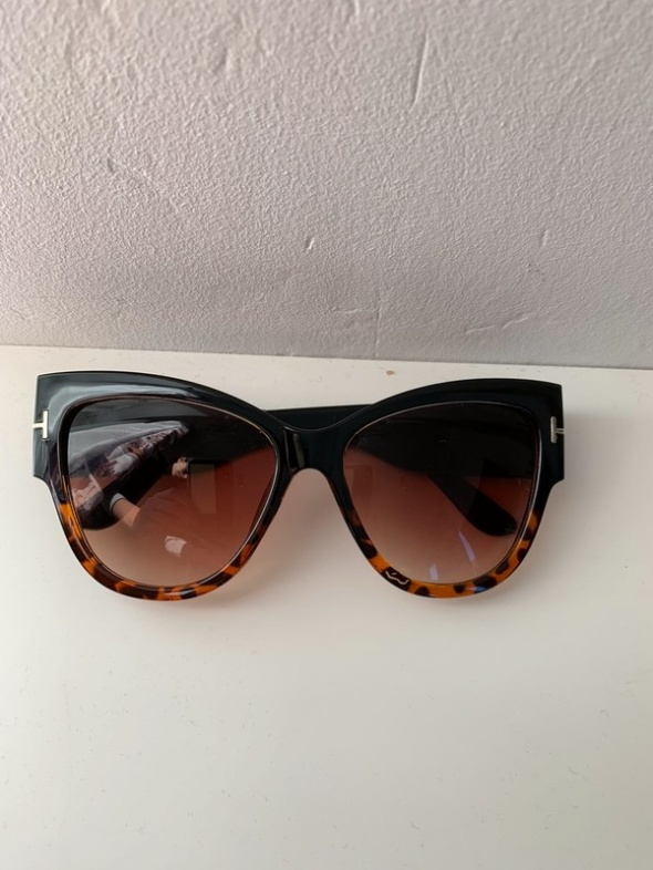 nowe okulary przeciwsłoneczne brązowa panterka