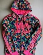 Bluza z kapturem adidas kwiaty flower oversize S M L XL...