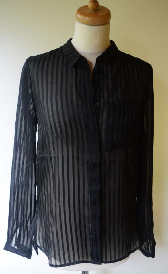 Koszula Czarna Paski Vero Moda M 38 Paseczki Mgiełka